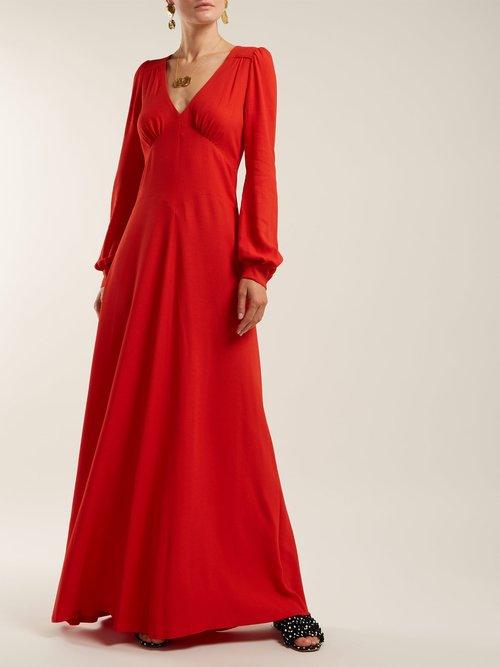 Nova Crepe Puff Shoulder Dress by Bella Freud