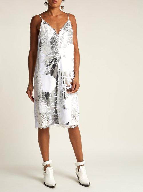 Shop Calvin Klein 205W39Nyc White cotton foil-print Andy Warhol dress online sale
