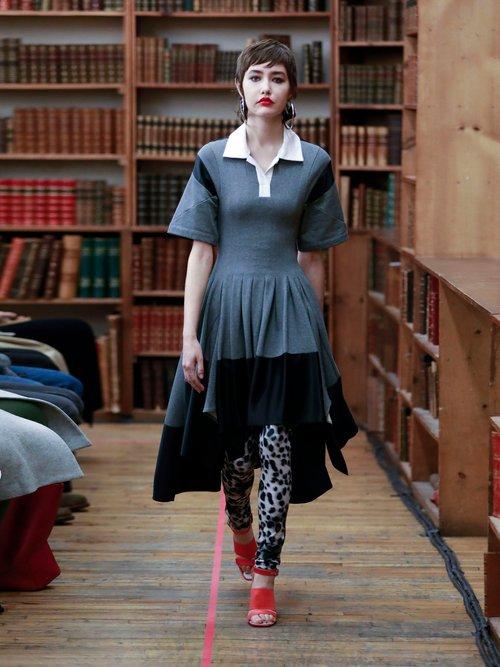 Short-sleeved pleated asymmetric-hem dress by