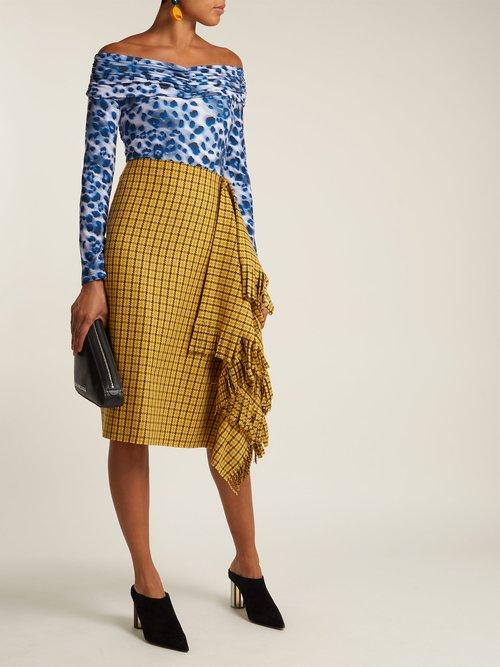 Leopard-print off-the-shoulder bodysuit by