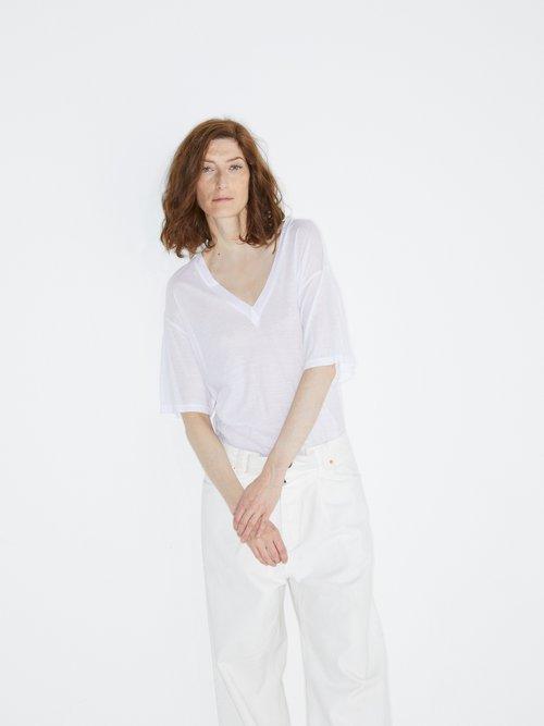 V-neck cotton-jersey T-shirt by Raey