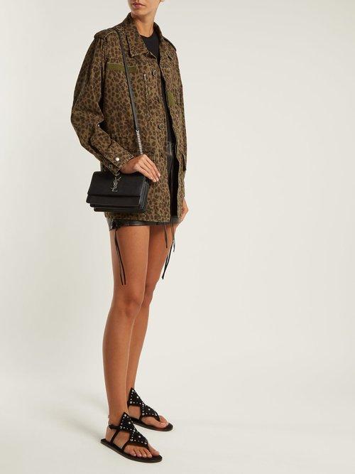 Ella suede studded sandals by Saint Laurent