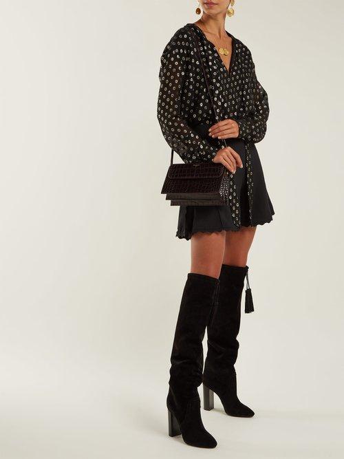 Photo of Meurice tassel-tie suede boots by Saint Laurent womens shoes - buy Saint Laurent footwear online