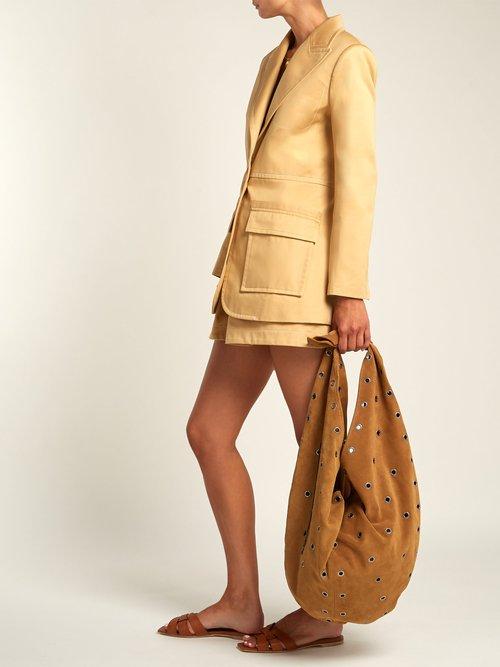 Hobo eyelet-embellished suede bag by Saint Laurent