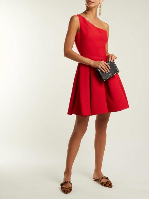 One Shoulder Wool Blend Skater Dress by Valentino