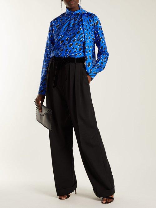 Leopard-print silk blouse by Valentino