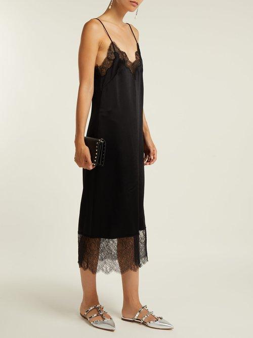 Shop Valentino Lace-trimmed hammered silk-satin slip dress online sale