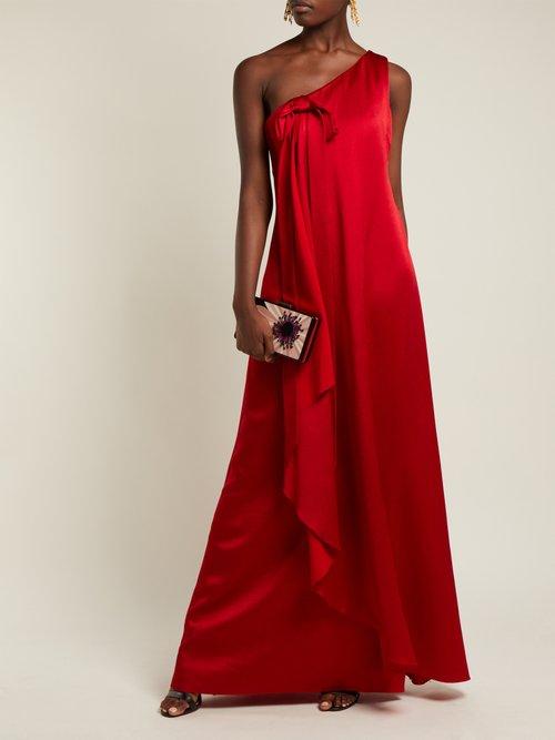 One-shoulder hammered silk gown by Valentino