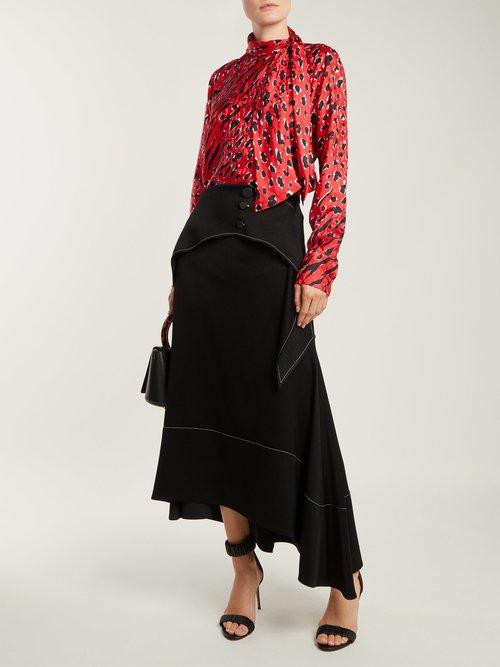 Animal-print silk blouse by Valentino