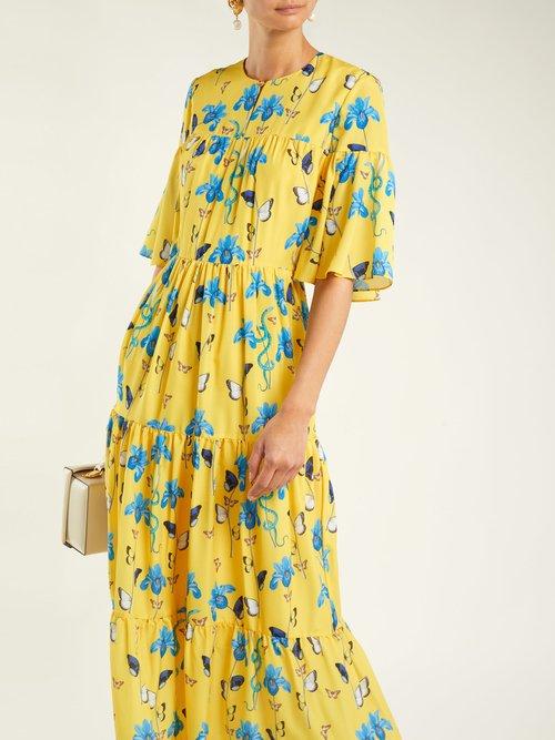 Serena iris-print crepe dress by Borgo De Nor