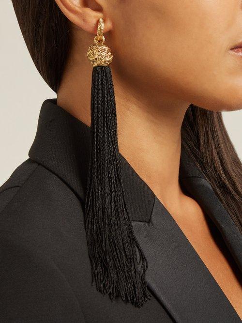 Photo of Tassel Drop Earrings by Saint Laurent - shop Saint Laurent online sales