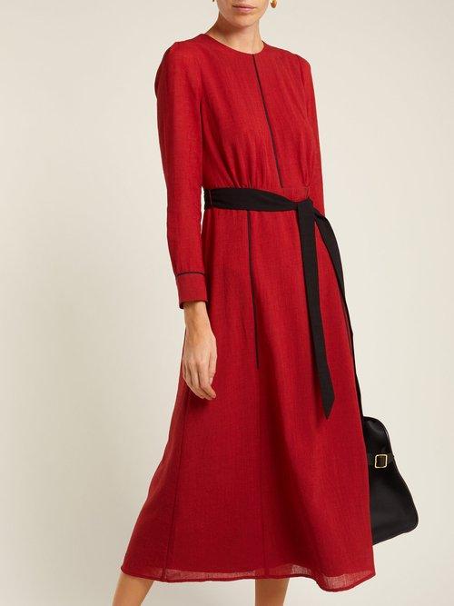 Tie Waist Voile Midi Dress by Cefinn