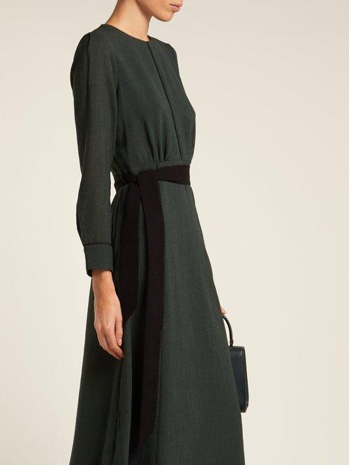 Tie-waist voile midi dress by Cefinn