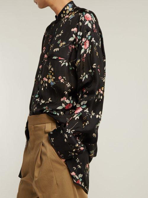 Floral-print satin shirt by Haider Ackermann