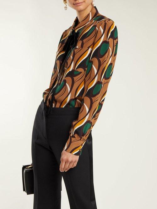 Tie-neck silk-crepe blouse by Rochas