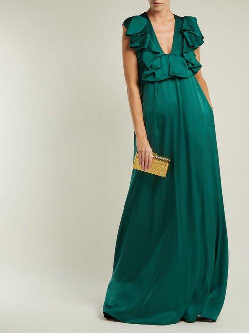 Ruffled duchess silk-satin gown by Rochas