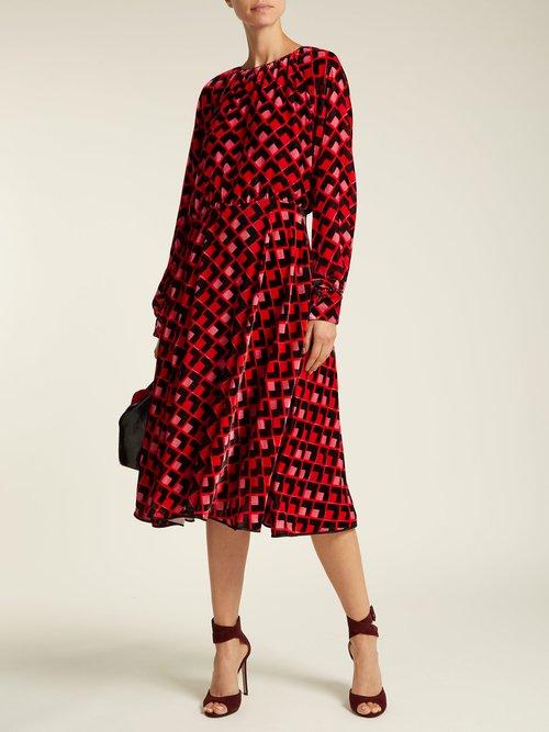 Geometric Print Velvet Midi Dress by Rochas
