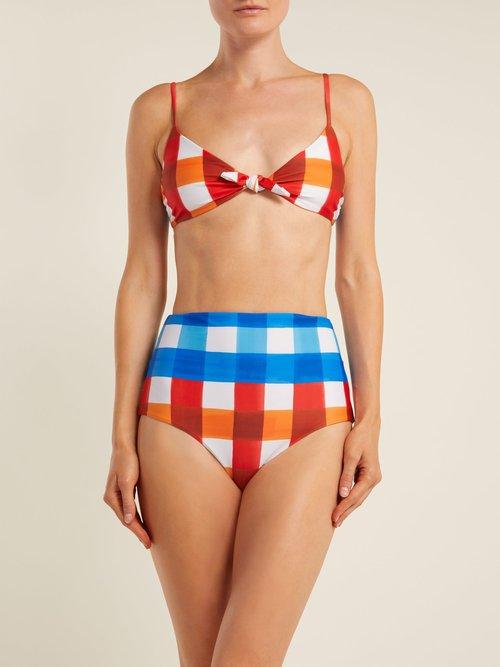 Carla Dejeuer-print knot-front bikini top by Mara Hoffman