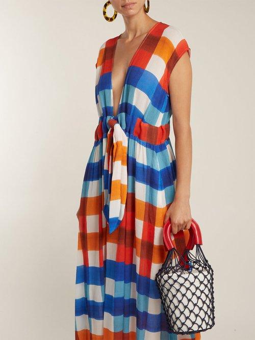 Photo of Katinka gingham tie-waist crinkled-crepe dress by Mara Hoffman - shop Mara Hoffman dressesonline sales