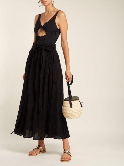 Photo of Nicola Tie Waist Organic Cotton Skirt by Mara Hoffman - shop Mara Hoffman online sales