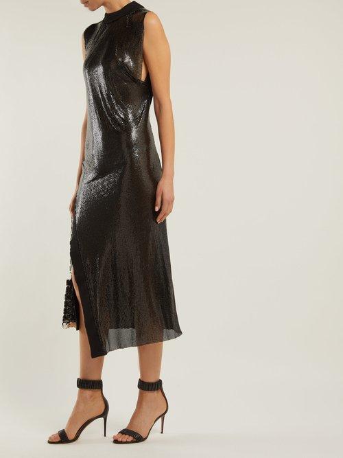 Slit Hem Metal Mesh And Jersey Midi Dress by Paco Rabanne
