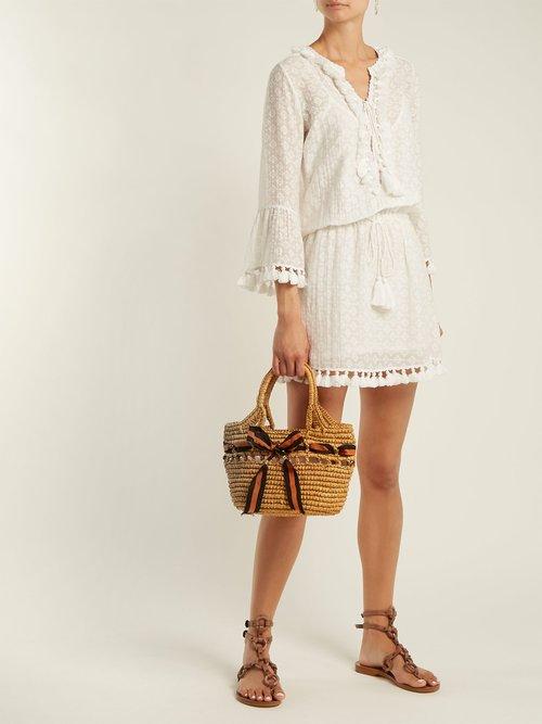 Shop Talitha Ria tassel-trimmed silk and cotton-blend dress online sale