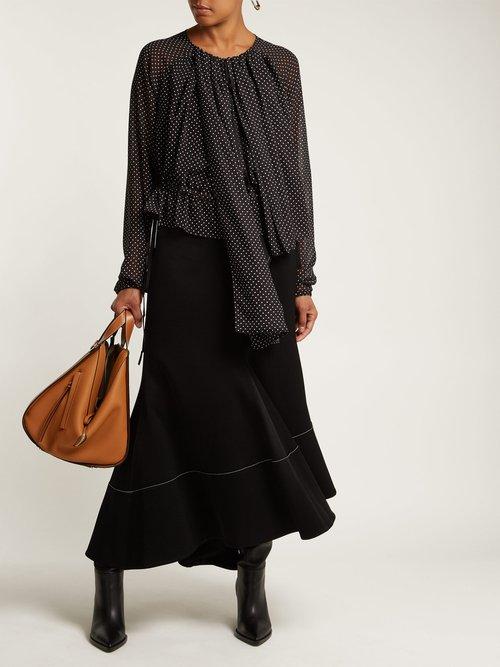 Polka-dot ruched blouse by Loewe