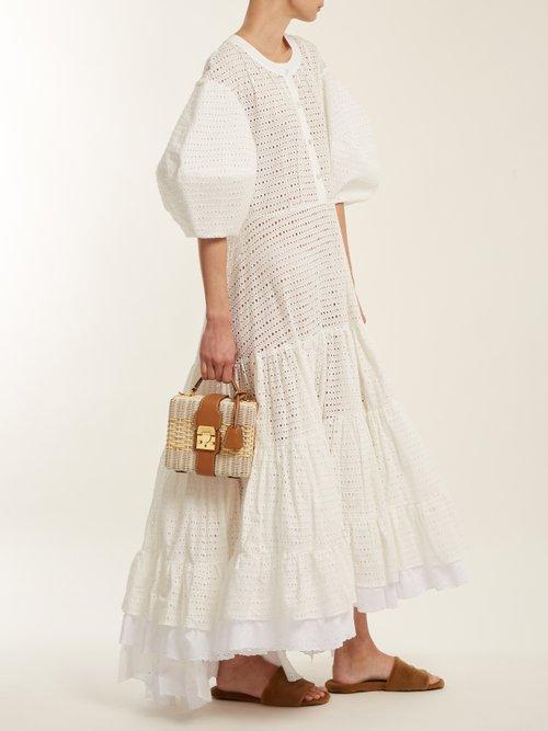 Broderie anglaise puff-sleeved cotton dress by Natasha Zinko