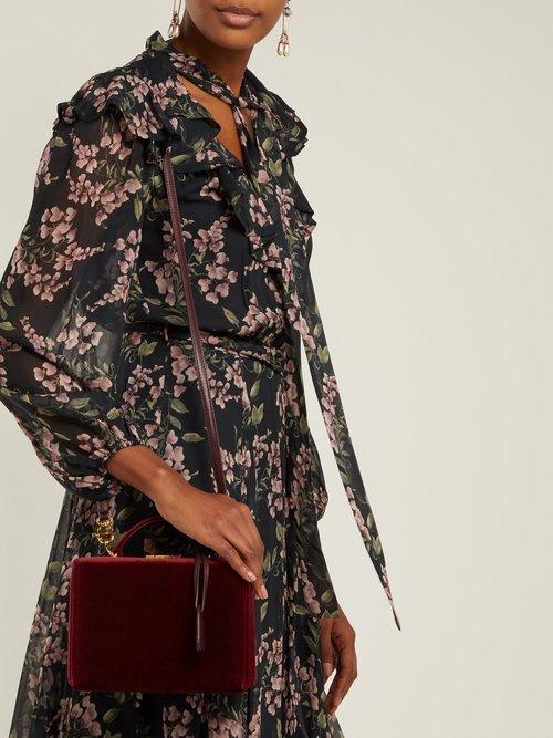 Grace small velvet shoulder bag by Mark Cross