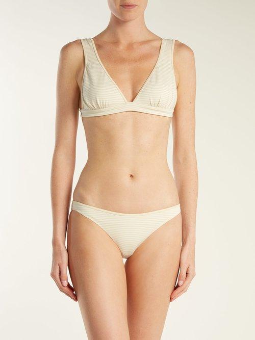 Reversible Nassau triangle bikini top by Marysia