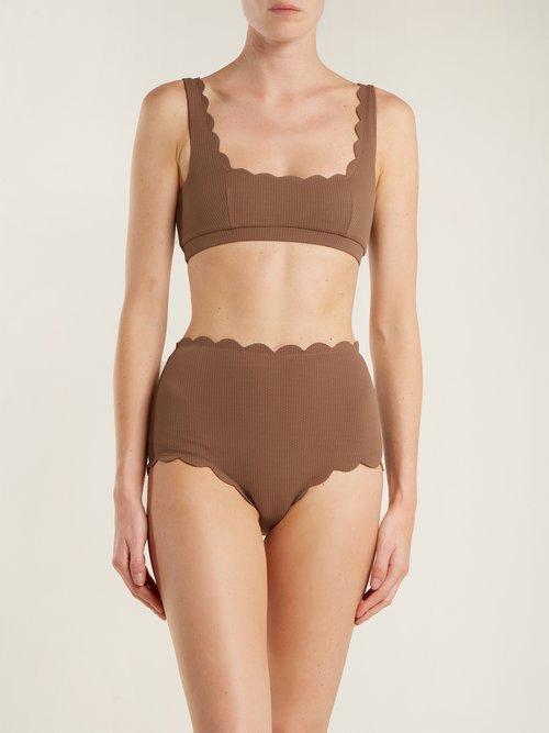 Santa Monica scallop-edged bikini briefs by Marysia