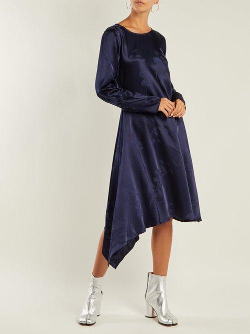 Floral-jacquard asymmetric satin dress by Mm6 Maison Margiela