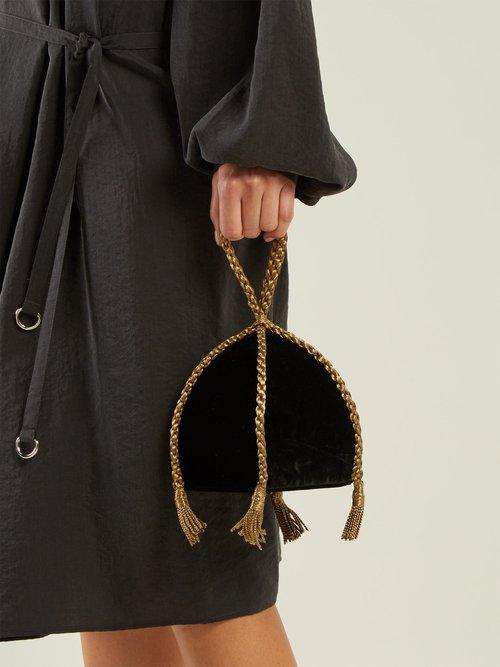 Gemma braided-handle velvet clutch by Sanayi 313