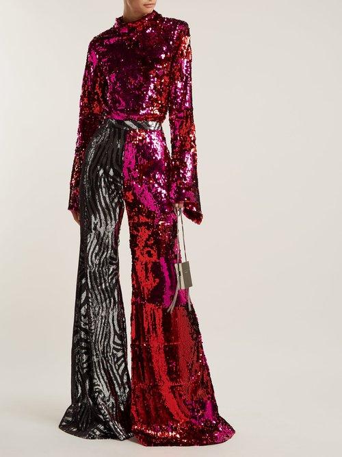 Sequin Embellished High Neck Top by Halpern
