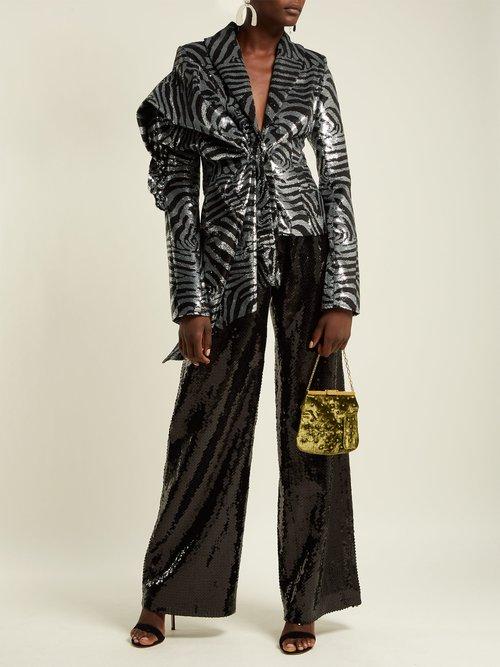 Zebra Stripe Sequined Jacket by Halpern