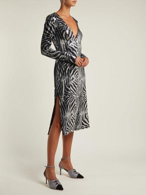 Zebra Pattern Sequined Dress by Halpern