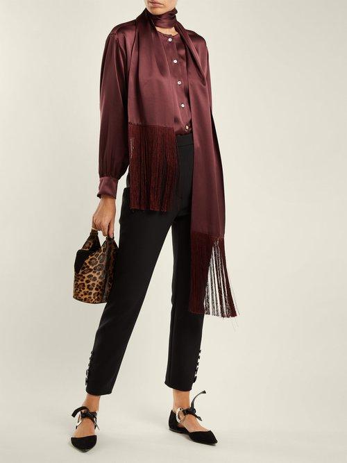 Tie-neck silk-satin blouse by Hillier Bartley