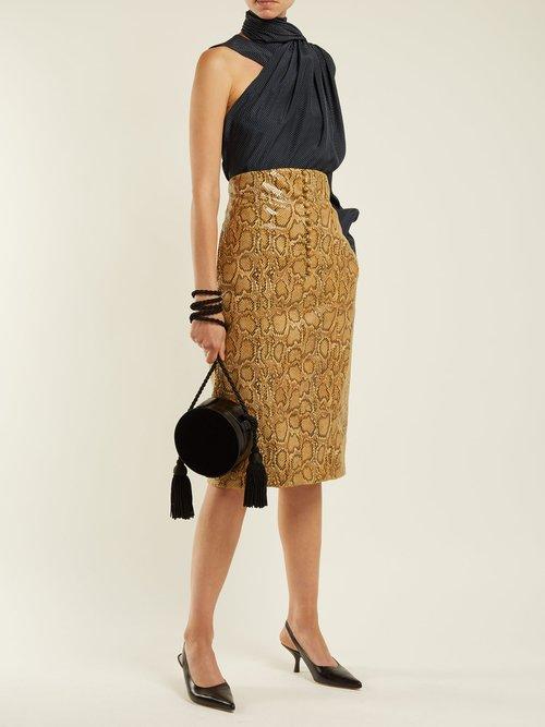 Asymmetric fringed-scarf silk-satin blouse by Hillier Bartley