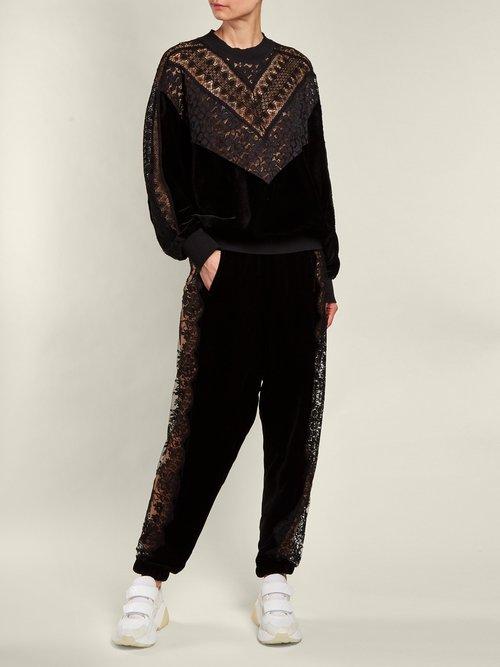 Velvet and lace sweatshirt by Stella Mccartney