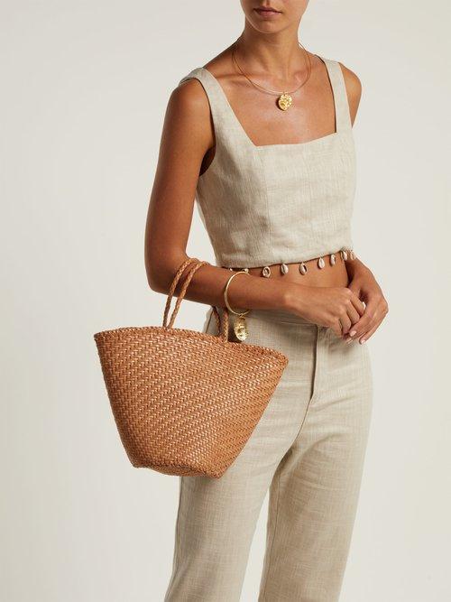 Myra woven-leather basket bag by Dragon Diffusion