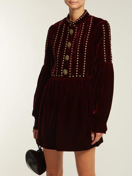 Studded and pleated velvet mini dress by Saint Laurent