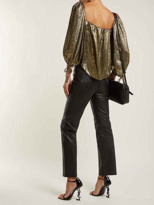Metallic silk-blend jacquard blouse by Saint Laurent
