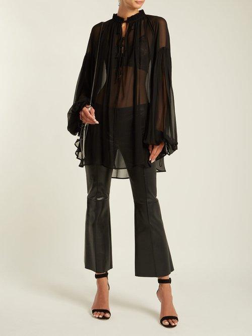 Blouson-sleeve mousseline-crepe blouse by Saint Laurent