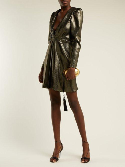 Draped V Neck Dress by Saint Laurent