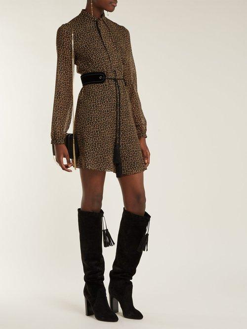 Leopard Print Tie Neck Wool Dress by Saint Laurent