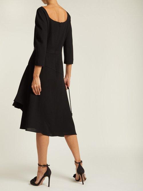 Asymmetric pleated wool midi dress by Lanvin