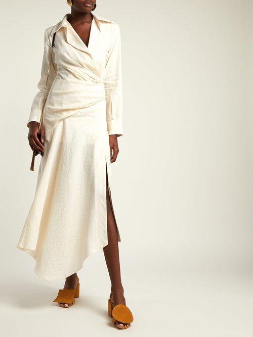 Sabah ruched linen-blend midi dress by Jacquemus