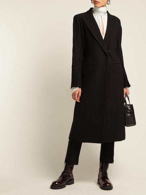 Satin Trim Wool Blend Coat by Ann Demeulemeester