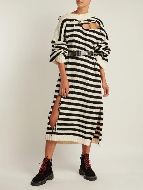 Slashed Striped Wool Dress by Charles Jeffrey Loverboy