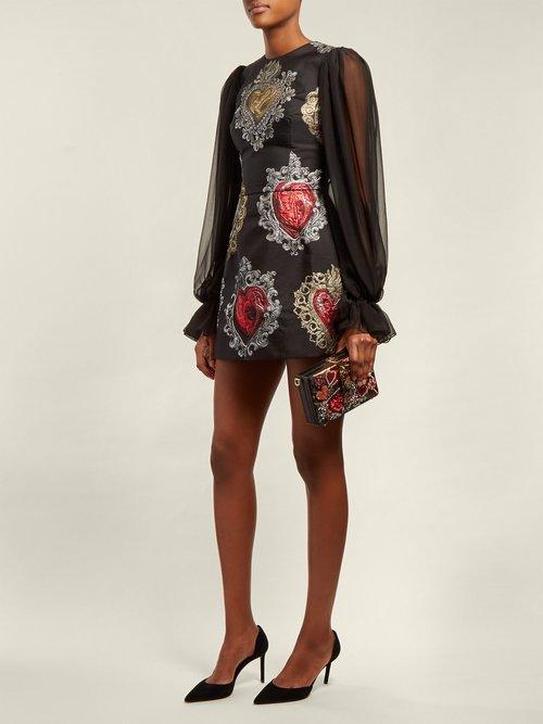 Crystal-embellished floral-jacquard clutch by Dolce & Gabbana
